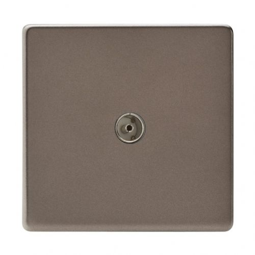Varilight XDR8S Screwless Pewter 1 Gang Co-Axial TV Socket